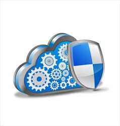Cloud computing with security shield vector
