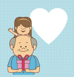Color dotted background card with elderly man vector