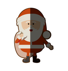 colorful silhouette of santa claus with gift bag vector image
