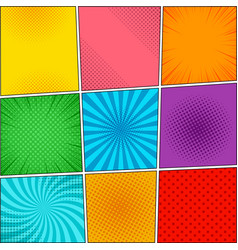 Comic book colorful backgrounds collection vector