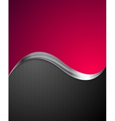 Crimson abstract background with metal wave vector
