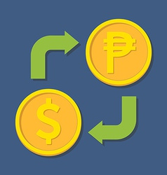 Currency exchange Dollar and Peso vector