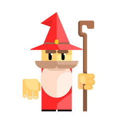 cute cartoon gnome in a red hat with a staff in vector image