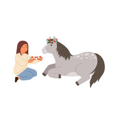 Cute girl and pony wearing wreath flowers vector