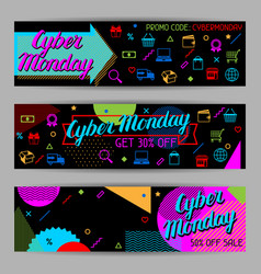 cyber monday sale banners online shopping and vector image