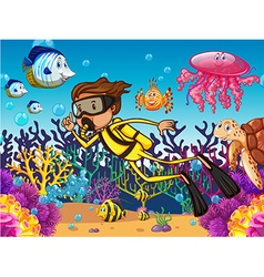 Diver diving underwater with many sea animals vector image