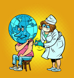 doctor vaccinates planet earth human vector image