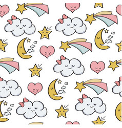 Doodle seamless pattern with fantasy magical vector