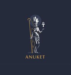 egyptian goddess anuket ankh feathers vector image