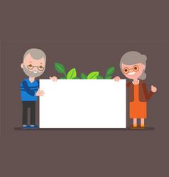 elderly couple holding blank white board happy vector image