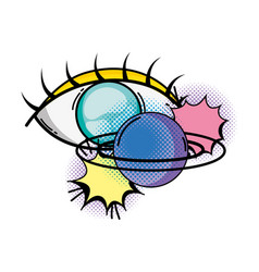 Eye human with planet pop art style vector