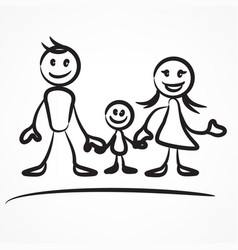 Family stick figure vector