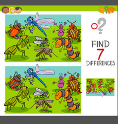 find differences with insects animal characters vector image