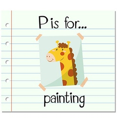 Flashcard letter P is for painting vector