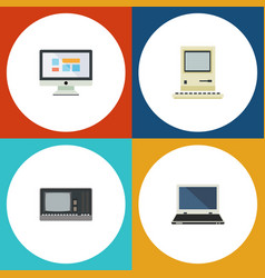 Flat icon laptop set of notebook vintage hardware vector