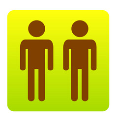 gay family sign brown icon at green vector image