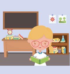 Girl kid school in classroom design vector
