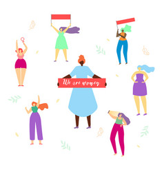 girls round of woman with big banner we are women vector image