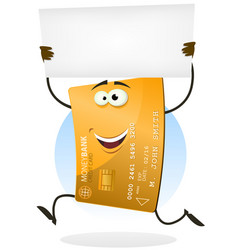 Golden credit card running with blank sign vector