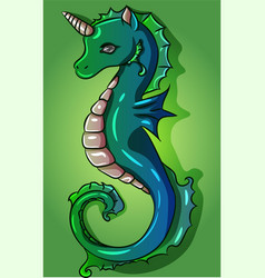 green and blue turquise seahorse unicorn vector image