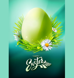 green easter egg poster on blue vector image