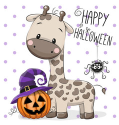 Halloween of cartoon giraffe vector