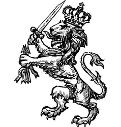 hand drawing a heraldic lion with a sword vector image