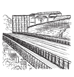 Hand drawn bridge vector image