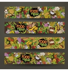 Hand drawn doodles food banners design vector