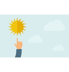 Hand pointing to sun icon vector image