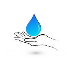 hands protecting water drop logo vector image
