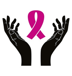 Hands with breast cancer ribbon symbol vector image