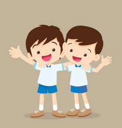 Happy best friends boys vector