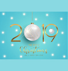 happy new year background with hanging baubles vector image