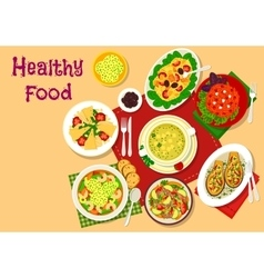 Healthy salad and soup lunch dishes icon vector