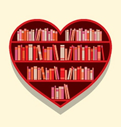 Heart Shape Bookshelf On Wall vector image