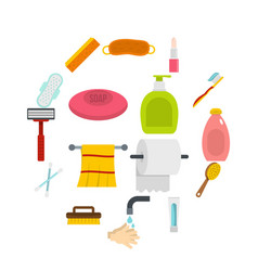 hygiene tools icons set in flat style vector image