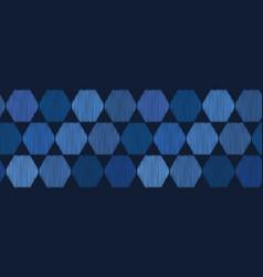 Indigo blue hand drawn hexagon graphic seamless vector