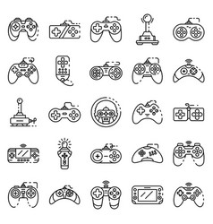 Joystick icons set outline style vector