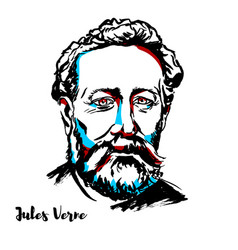 Jules verne portrait vector
