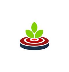 leaf target logo icon design vector image