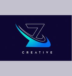 Letter z logo z letter design with blue swash vector