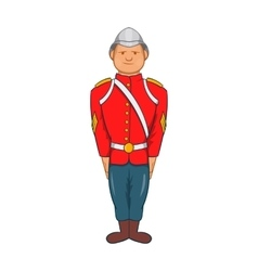 Man in a red jacket and metal helmet century icon vector