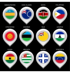 Map marker with flag-set sixteen vector image