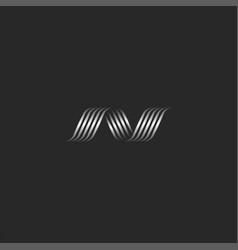 monogram letter n logo design wavy ribbons lines vector image