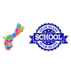 Mosaic map guam island and grunge school seal vector