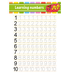 Number 1-10 trace and write handwriting practice vector