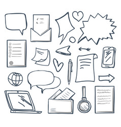 office messages and thought bubbles set vector image
