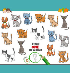 One a kind game for children with cats vector