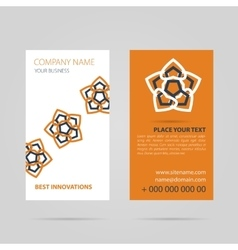 Orange business card with mandala vector image